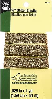 Dritz 9344G Glitter Elastic, 5/8-Inch by 1-Yard, Gold