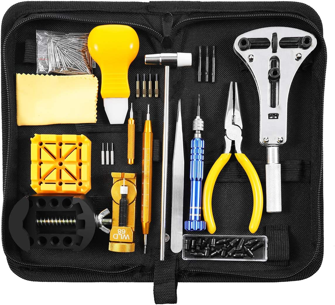 168 Pcs Watch Repair Kit, for Professions & Beginner, Baban Watch Tool Kit Full Equipment with Instructions Easy to Use, Top Quality Suit for Other Repairing Jobs as Well