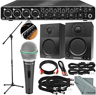Photo Savings Behringer U-PHORIA UMC404HD USB 2.0 Audio/MIDI Interface and Platinum Bundle w/Samson Q6 Mic, Stand & BT3 Studio Monitors + Loads of Cables + Fibertique Cloth