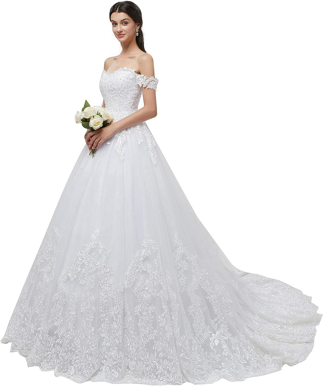 Datangep Women's Scoop Lace Cap Sleeve VBack Mermaid Chapel Train Wedding Dress