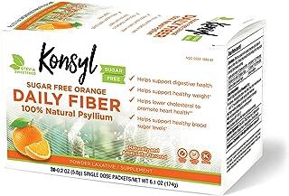 Konsyl Daily Fiber Orange 100% Natural Psyllium Husk Powder - Sugar Free & Gluten Free - 30 Individual Packets