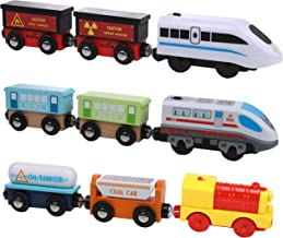 On Track USA Motorized Action Trains, 9 Piece Battery Operated Engine Train Set, 3 Motorized and 6 Wooden Trains. Compatible to Wooden Tracks from All Major Brands