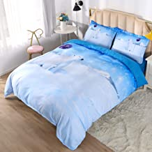 KINBEDY 3D Wolf in Desert and Forest, Colorful Animal Theme Digital Bedding for Boys and Girls, 4 Piece Blue and White Duvet Cover Set Queen Size. Queen