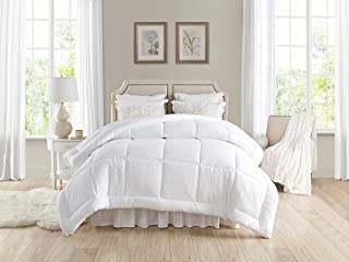 """TAHARI HOME Pre-washed All-Season Extra Soft Comforter – Plush Siliconized Fiberfill - Duvet Insert or Stand-Alone Comforter with Tabs – Machine Washable – hypoallergenic (Full/Queen 90"""" x 96"""", White)"""