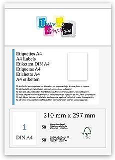 50 feuilles A4 papier adhésif blanc - Étiquette autocollante 210 x 297 mm - planche adhésive permanente marque UNIVERS GRA...