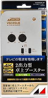 日本アンテナ 4K8K対応 卓上型ブースター 地デジ/BS・110°CS増幅 33dB型 2出力 高さ33×幅121×奥行90mm シルバー NAVB33SUE-BP
