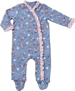 Newborn Footed Pajamas Girls Baby Sleepers Side Snap Onesie Footies Hat Blue Nb