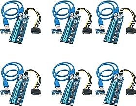 FebSmart PCI-E Riser for Bitcoin-Litecoin-ETH Coin PCIe VER006C 6 PIN 16x to 1x Powered Riser Adapter Card 6-Pin PCI-E to SATA Power Cable-GPU Riser Adapter-Ethereum Mining ETH (6 PCS)
