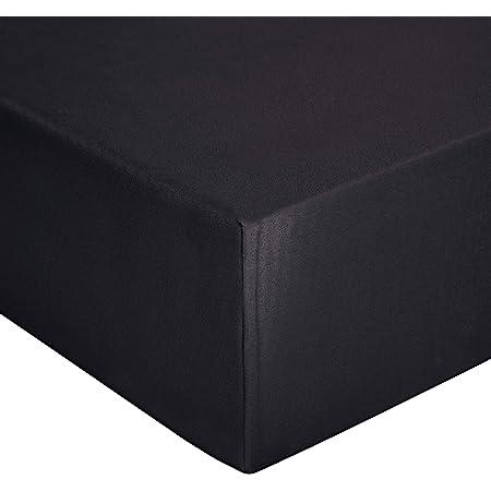 Amazon Basics Drap-housse en jersey, Noir - 140 x 200 cm
