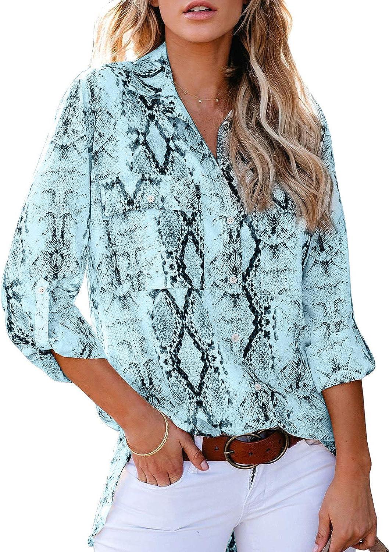 Astylish Women Button Down Snake Print 3 4 Tab Sleeve Tunic Blouse Tops Shirt