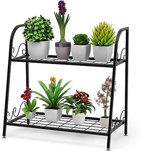 2021 Giantex 2 Tier high quality Metal Plant Stand, Indoor Outdoor Plant Shelf, Flower Rack Display Shelf, Flower outlet online sale Pots Holder with Adjustable Feet for Garden, Balcony, Living Room (2-Tier (25'' x 12'' x 24.5'')) online