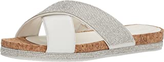 Kenneth Cole REACTION Women's Shore-ly Slip on Flat Slide Sandal with X-Band Straps, M US
