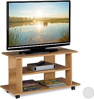Relaxdays Tv-meubel met wieltjes, 2 vakken voor televisie, console & ontvanger, verrijdbare televisietafel, HBT 45x80x40 c...