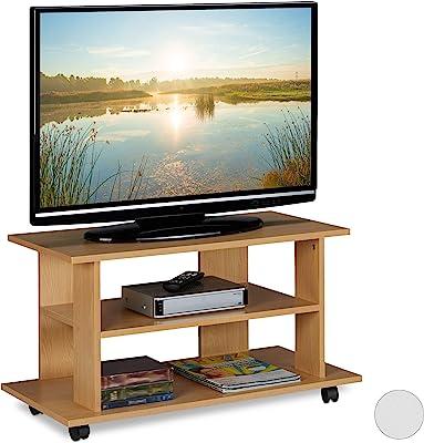 Relaxdays Meuble, 2 Compartiments, Console, Table TV sur roulettes HlP 45 x80x40cm, Effet Bois, Panneau de Particules, Papier, Plastique, 45 x 80 x 40 cm
