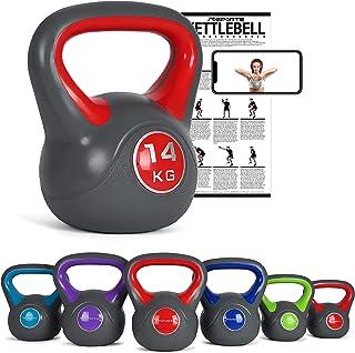 MSPORTS Kettlebell 2 – 20 kg con poster di esercizi
