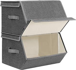 SONGMICS Boîtes de Rangement, Lot de 2, Pliable, Anneau métallique, Grande capacité, Couvercle Rabattable et aimanté, 38 x...