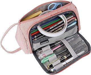 Trousse à Crayons de Grande Capacité Crayon Case Pouch Multifonctionnel Toile Crayon Sac Papeterie Organisateur Durable Tr...