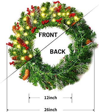 """Lighted Christmas Wreaths for Front Door Outside Vlorart 26"""" Winter Holiday Wreath for Indoor Outdoor Home Fireplaces Wall Xm"""