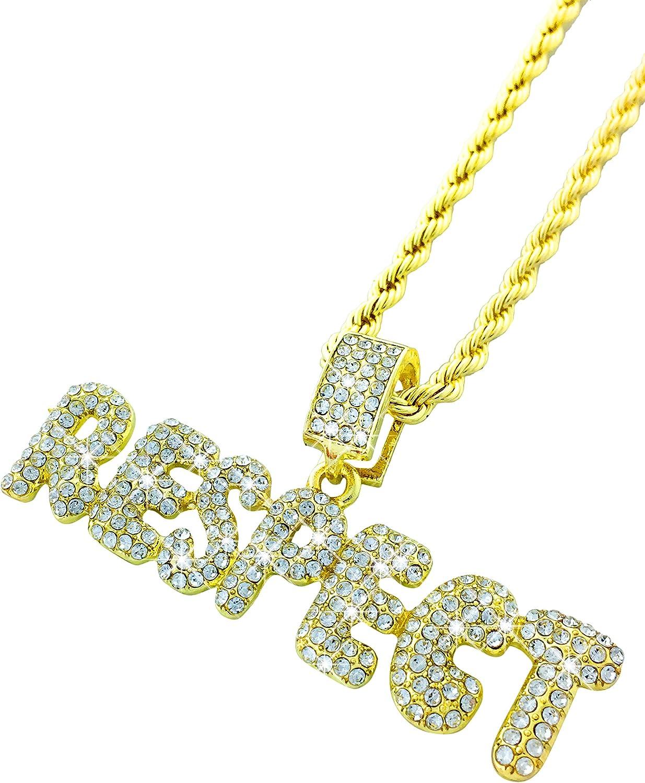 Exo Jewel CZ Diamond Bubble Word Respect Gold Pendant with 24
