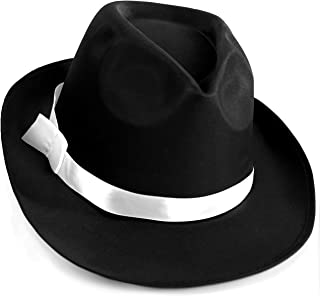 Black Gangster Fedora Hat - One Size with Elastic Band - Costume Accessory