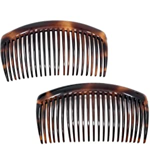 Camila Paris AD66/2 French Side Combs Large 2 Pack Curved Tortoise Shell Flexible Durable Cellulose Hair Combs, Strong Hold Hair Clips for Women, No Slip Styling Girls Hair Accessories, Made in France