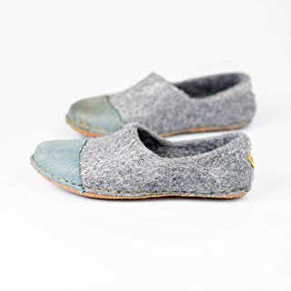 BureBure Felted Wool Women Clogs with Denim Natural Edge Leather Handmade in Europe