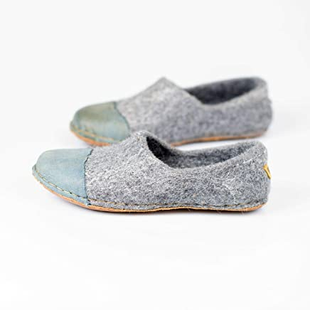 d1e6815d696b BureBure Felted Wool Women Clogs with Denim Natural Edge Leather Handmade  in Europe