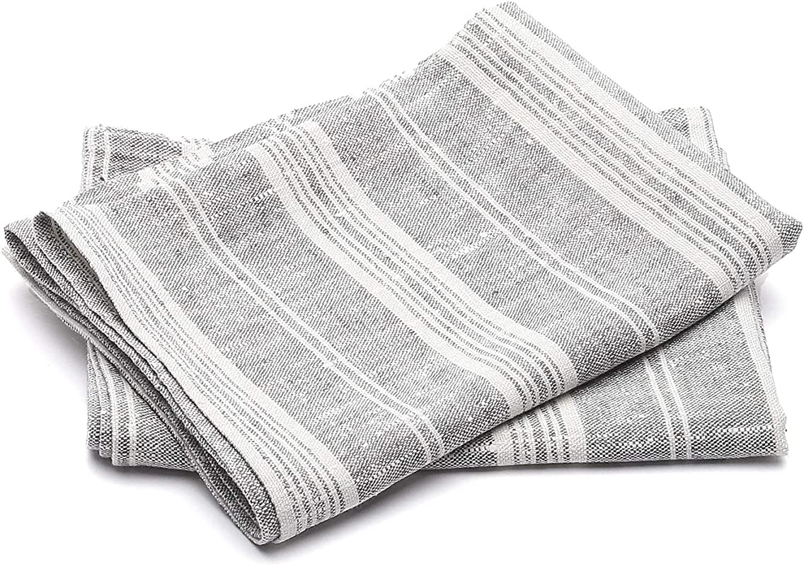 LinenMe Set Of 2 Graphite Multistripe Linen Tea Towels 18 X 26 Made In Europe