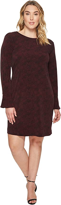 MICHAEL Michael Kors Plus Size Floral Mesh Flounce Dress