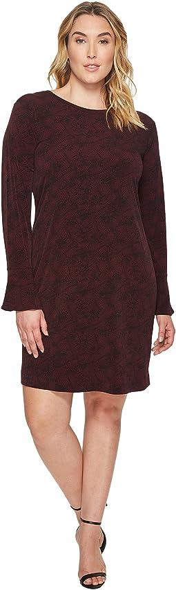Plus Size Floral Mesh Flounce Dress