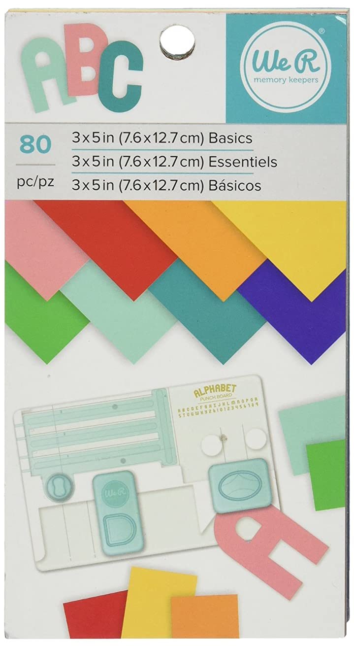 American Crafts We R Memory Keepers Cardstock Pad 80 Sheets, 3 x 5, Multicolor