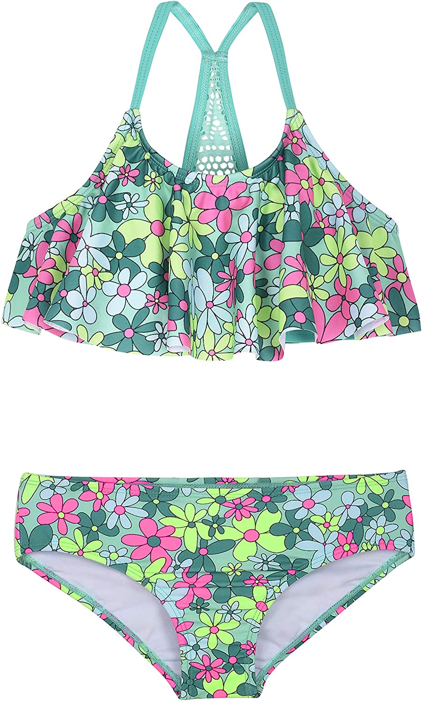 Firpearl Girl's Two Piece Swimsuit Floral Bikini Set Flounce Bathing Suit