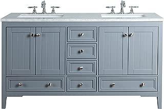 Stufurhome HD-1616G-60-CR Grey New Yorker 60 Inches Double Sink Bathroom Vanity