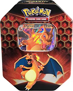 Pokemon SM11.5 Hidden Fates Gx Tin- Charizard + 1 of 3 Foil Pokémon-GX Cards + 4 Booster Pack, Multicolor