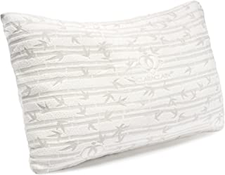 Clara Clark Bamboo Memory Pillow – Shredded Memory Foam Bed Pillow All Side Sleeper Adjustable Loft Pillows – Cooling Velvet Soft Rayon Bamboo Removable Washable Cover – Hypoallergenic – Queen