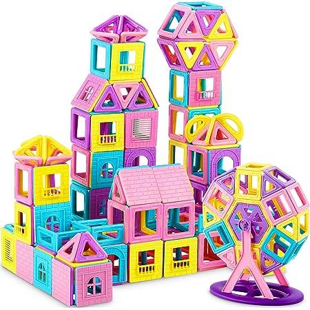 Dookey Blocs de Construction Magnétiques–141 pièces Jeux de Briques Magnétiques de Construction Aimanté Educatif et Créatif et Multicolore livret – Cadeau Fête pour Bébé à Partir de 3+ Ans