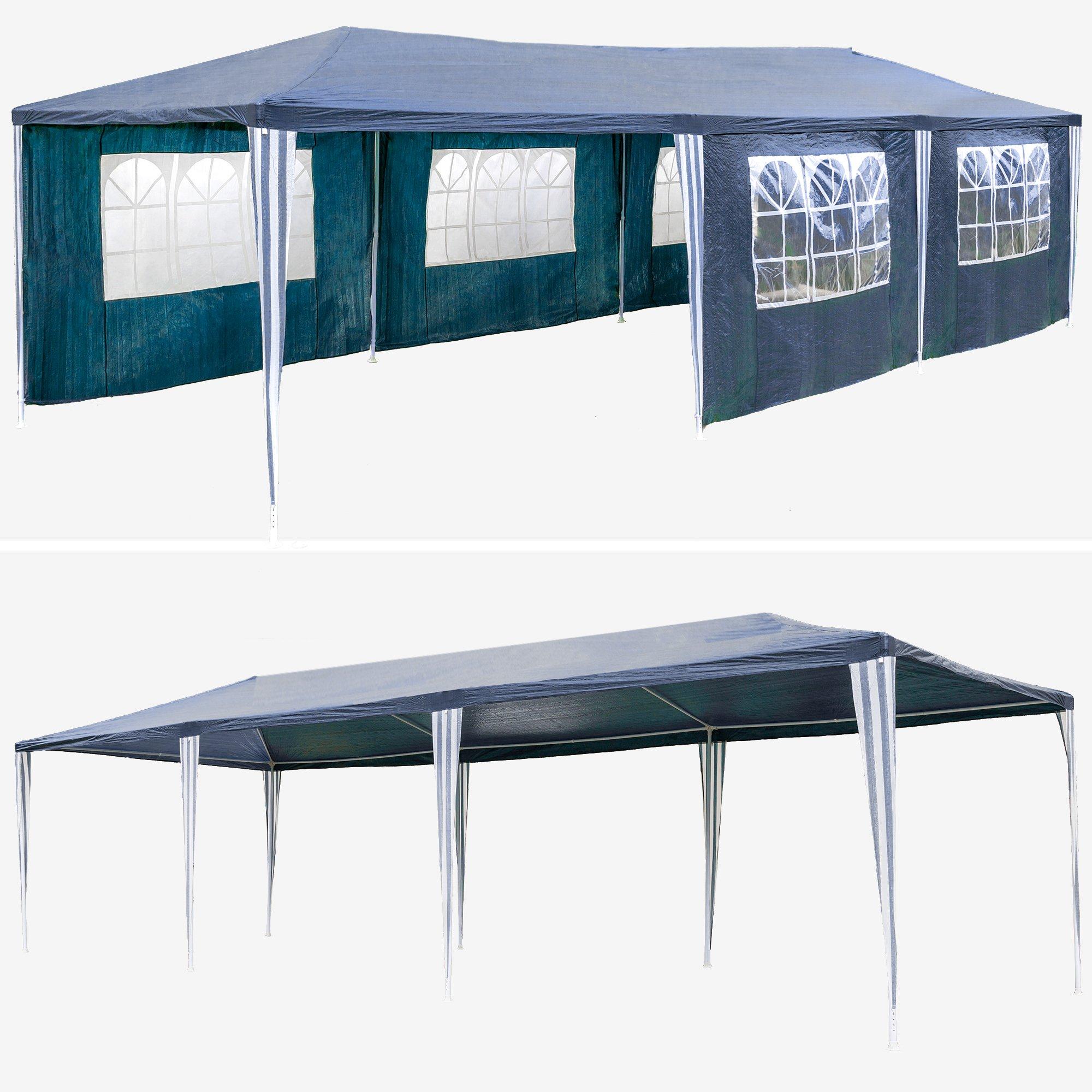 TecTake 800085 - Carpa Pabellón de Jardín, Tienda de 9x3m, Ideal para Eventos y Fiestas (Azul | No. 400935): Amazon.es: Jardín