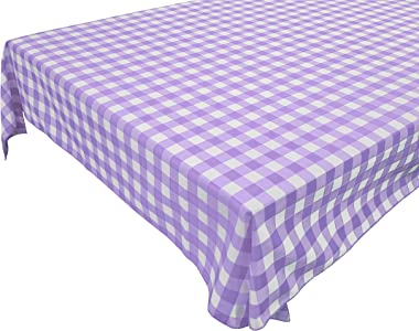 """Gingham Checkered Cotton Tablecloth Home Decoration Wedding Parties Showers Events Holiday Décor (58"""" x 108"""", Lavende"""