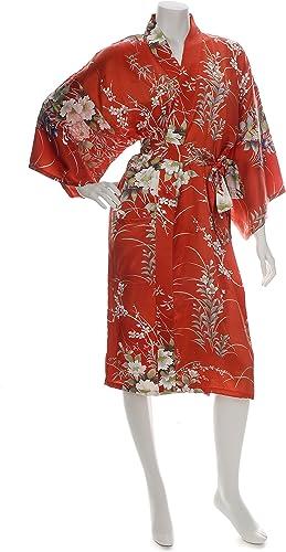 4bee3383a7f3 Kimono jañonesass seda corto De rojo Floral estampaño lwpif97013083 ...