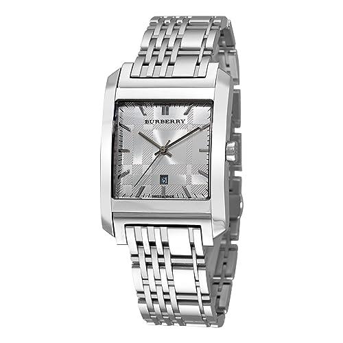 8069de78f09b Burberry Men s BU1567 Square Silver Dial Bracelet Watch