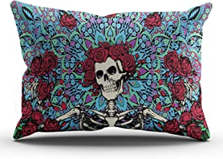 WEINIYA Home Custom Decor Grateful Dead with Red Roses Throw Pillow Cover Exquisite One Side Printed Patterning King 20x36 Inches