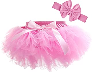 Dancina Baby Tutu Diaper Cover - Girls Cotton Skorts Headband Set Ages 6-24 mo