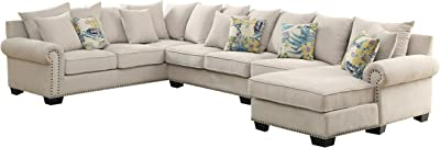 HOMES: Inside + Out IDF-6156-SEC-CH Jarlee Fabric Sectional, Beige
