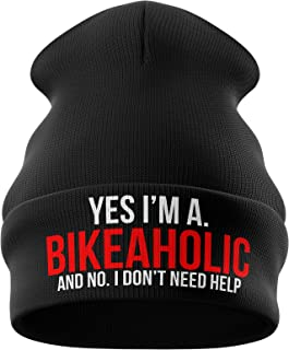 Purple Print House Motorbike Gifts for Men - Bikeaholic Dont Need Help - Beanie Hat Motorcycle Gifts Winter Hat