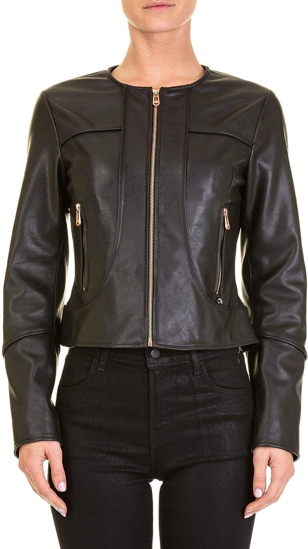 Trussardi Women's 56S003471T002169K299 Black Leather Outerwear Jacket
