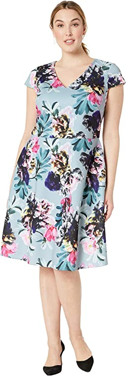Plus Size Mystic Floral Fit and Flare Dress