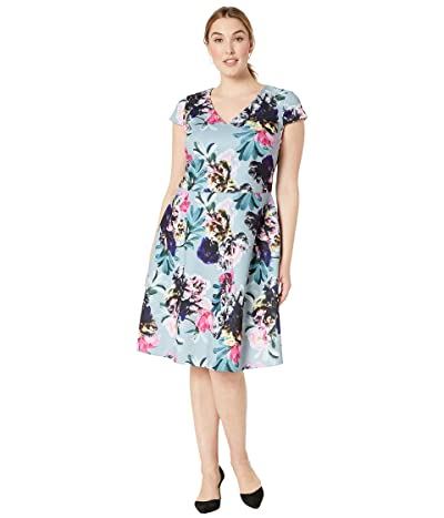 Adrianna Papell Plus Size Mystic Floral Fit and Flare Dress (Blue Multi) Women
