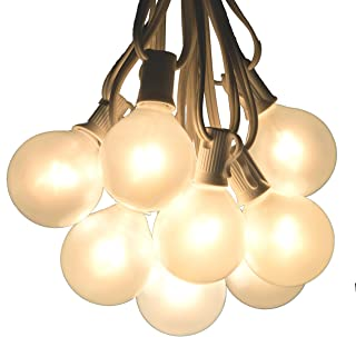 50 Foot Outdoor Globe Patio String Lights - Set of 50 G50 White Pearl 2 Inch Bulbs with White Cord