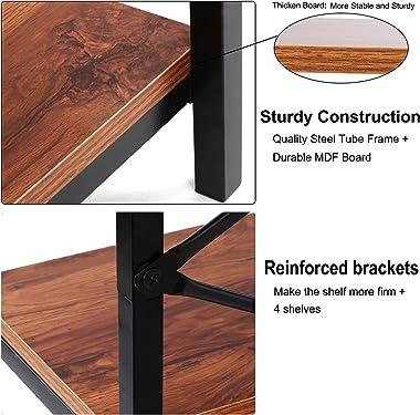 Kemanner 5-Tier Industrial Style Bookcase, Vintage Free Standing Bookshelf, Rustic Wood Bookcases Furniture (Brown.)