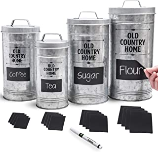 Farmhouse Kitchen Canisters Set by Saratoga Home - Bonus Removable Chalkboard Labels & Marker Included, 4 Airtight Rustic ...